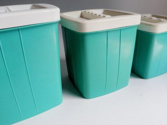 Vintage Canisters Aqua Turquoise Sugar Coffee Tea Set of 3