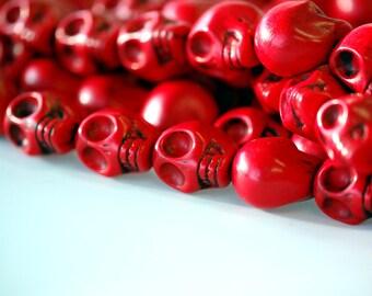 23mm Large BRIGHT RED Howlite Stone Skull Beads, full strand, how0380