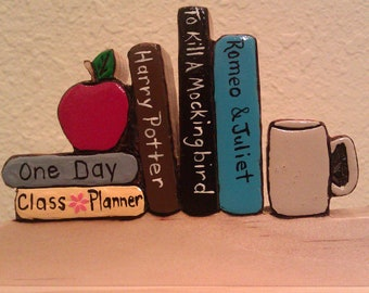 Personalized Teachers Desk Nameplate with School Books and Apple