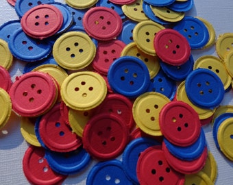 100 Primary Colors Embossed Buttons Die Cut Embellishments