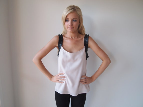Pale Pink Top With Leather Gathered Strap Detail