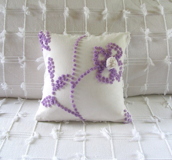 PURPLE POSY vintage chenille pillow cover 12 X 12