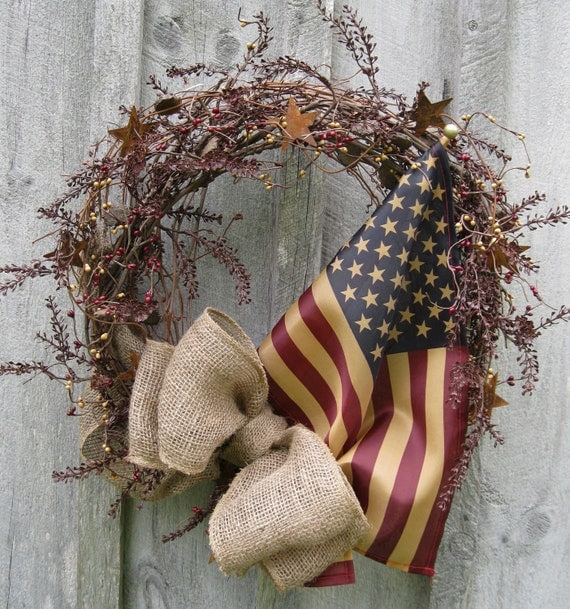 Fall Wreaths, Americana Wreath, Primitive Door Décor, Rustic, Patriotic, Tea Stained Flag