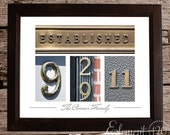 Unique Wedding Date Art,  Framed Color Number Photo Art - Brown 11x14 Frame - Custom Wedding Gift Idea