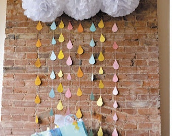 White Tissue Paper Pom Poms and Rain Drop Garland // cloud and raindrop decorations // gender neutral baby shower // rain theme baby shower