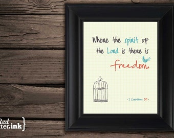 Wall Art - Freedom (creme, turquoise, orange, gray) 2 Corinthians 3:17 - 8 x 10 Print