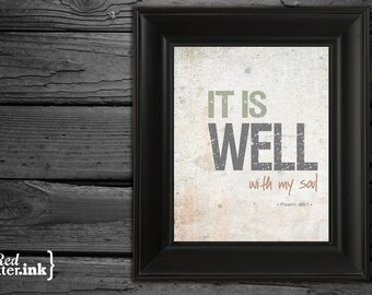 Wall Art - It Is Well Psalm 46:1 (Neutral Colors) - 8 x 10 Print