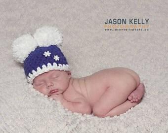 Newborn Pom Pom Hat, Crochet Baby Hat, Infant Winter Hat, Newborn Photo Prop, Snowflake Hat , Warm Winter Hat, Newborn Boy Hat, Crochet Hat