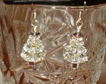 White Clear with a green top Swarovski Christmas tree earrings