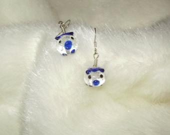 Little Piggy Hand Created Glass Earrings
