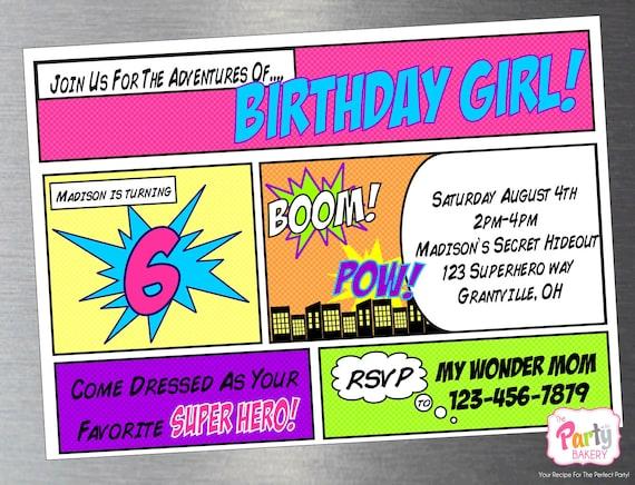 Superhero Party Invitations unitedarmyinfo