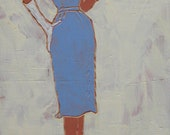 Simplicity 3608 - view 1, periwinkle dress, white gloves, latex paint on wood panel with carved lines