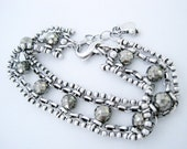 Pyrite Bead and Sterling Silver Chain Bracelet