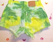 Vintage Levis  High Waisted TIE  Dyed  Denim Shorts - Studded Waist 28 inches