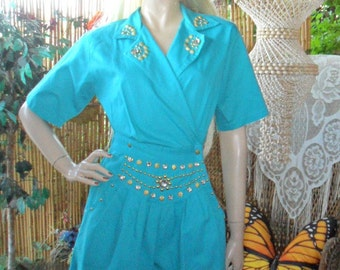 Vintage 80's Teal Green   Romper-Playsuit with studs and Jewels  Sz Small