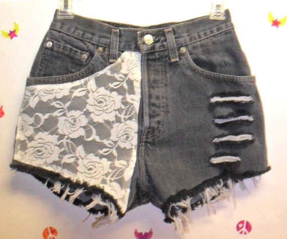 10%  OFF  Sale Store Wide----Vintage Levis High Waist  denim shorts -----with Lace ---Waist   25   inches