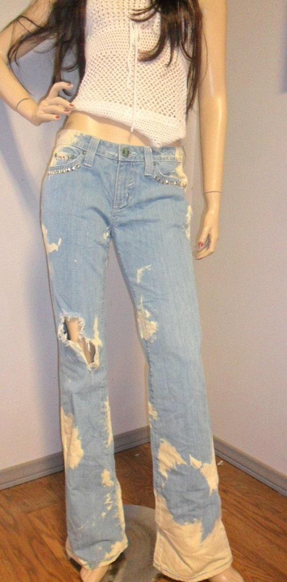 Hippie Brand  -Bleached -Distressed --STUDDED--Rainbow Patch - Denim Jeans Sz 7
