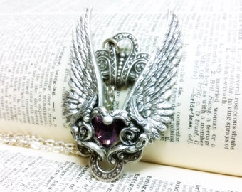 Valkyrie (Silver/Purple) Aged silver filigree pendant Fantasy mythology inspired jewelry Vintage victorian steampunk gothic style
