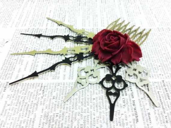50% SALE Steam Lady Princess Rose Clock Hand Comb Fantasy mythology inspired jewelry Vintage victorian steampunk gothic style