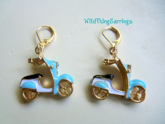 Scooter Girl's Going For a Ride Dangle Earrings