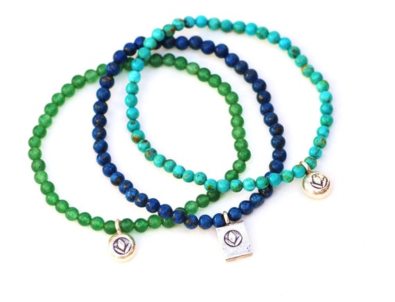 LOTUS TRIO Beaded Bracelets by MOONDROPS // Jade, Turquoise, Blue Lapis