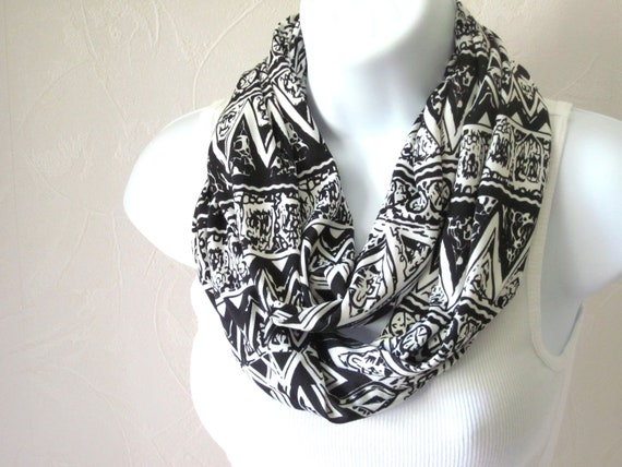 Jersey Knit Infinity Scarf Black and White Tribal Stripes Double Loop Scarf Handmade Fashion by Thimbledoodle
