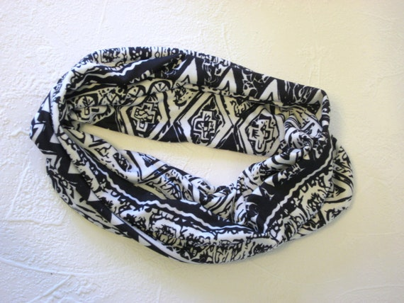 Black and White Hair Wrap Headband Gaiter Tribal Jersey Knit Handmade Fashion for Guys and Gals