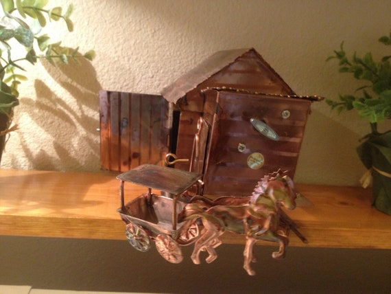 Vintage Copper Music Box Horses And By Startathomevintage