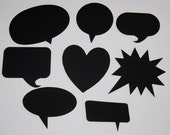 8 Blank Chalkboard Speech Bubbles  - Customizable Party Decorations, Wedding,  Picture booth signs, Photo Props