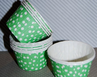 Bright Green Polka Dot  Candy Cups Nut cups Grease proof  Baking cupcake liners  muffin cups  Ice cream dessert portion cups - 24 count