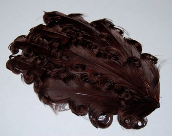 Curly Feather Pad -   Dark Chocolate Brown   FP220 - (1piece)
