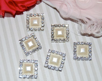 """6 pearl rhinestone square embellishments flower centers buttons accessory flat back 1/2"""" size  - Pearl crystal accent metal component - RB24"""