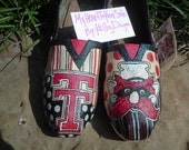 Price includes shoes. Texas Tech University Red Raiders hand painted TOMS