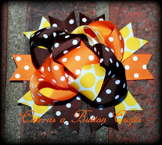 Funky Orange Yellow and Brown Hair Bow - Loopy Mix and Match - Thanksgiving Hair Bow -  Boutique fall Hairbow - Bow