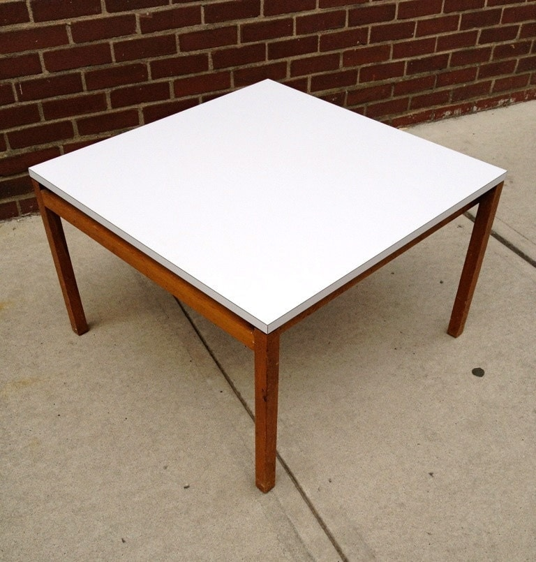 Mid century knoll white formica coffee table end table Formica coffee table
