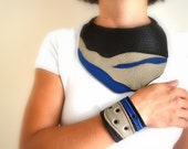 Leather Cuff - Leather Bracelet Brown - Beige Blue Leather - renklitasarimlar