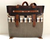 Canvas Leather Backpack Laptop Bag Multiple Pockets Urban Men Women  Rucksack Beige Brown Black Checkered Canvas Travel Backpack