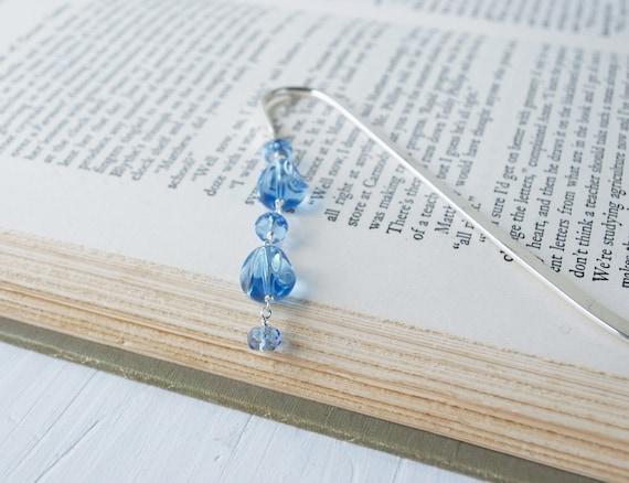 Blue Beaded Bookmark: Raindrops, Beaded Bookmark, Bead Bookmark, Metal Bookmark, Book Hook, Rain, Blue, Autumn