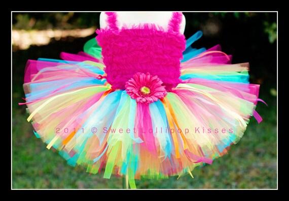 READY to SHIP: 'Rainbow Birthday' Tutu -  LARGE (fits child's 5/6), Tutu Great for Girls 1st Birthdays Photos Dress up