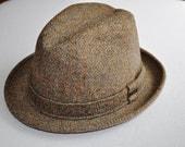 Vintage Mens Fedora Tweed Plaid Hat Fedora Size Womans Unisex Small 6 3/4 - 6 7/8 Eveteam Homespunsociety