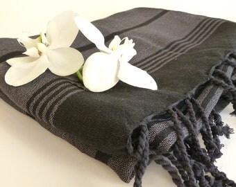 Organic Silk and Cotton Turkish Towel, Peshtemal, towel wrap, sarong, spa, yoga, bath, hammam, Xmas Gift, Grey / Black