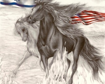 Freedom Stride, Pencil, Colored Pencil Drawing