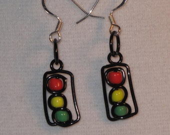 Wire Wrapped Stop Light Earrings MADE to ORDER