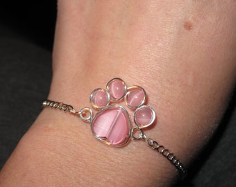 Wire Wrapped Pink Beaded Paw Print Bracelet MADE to ORDER