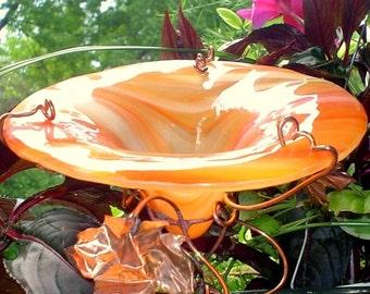 BIRTHDAY Gift, Garden BUTTERFLY FEEDER, stained glass, copper garden, Orange, bird feeder, butterflies