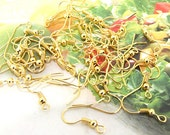 Earring Hooks  Bronze Plated Yellow Gold Filigree Metal 18mm---100pieces