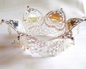 Thea - Lovely Traditional Norwegian Solje Style Silver Plated Filigree Wedding Crown with Cloverleaf Ornaments