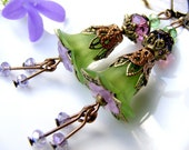 Dangle earrings,lucite flower earrings,green violet earrings, valentine beadwork earrings, drop eco cluster, shabby style vintage boho bell