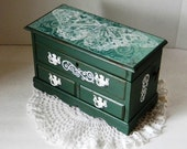 Shabby and Chic Jewelry Box - Decoupage Music Jewelry Box - Chippendale Chest of Drawers - Cottage Chic Jewelry Box