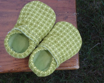 Baby Shoes for Boys - Light and Dark Green Circle Print - Custom Sizes 0-3 3-6 6-12 12-18 18-24 months